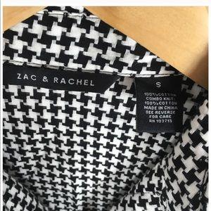 Zac & Rachel Tops - Black White Houndstooth Button Blouse Zac & Rachel
